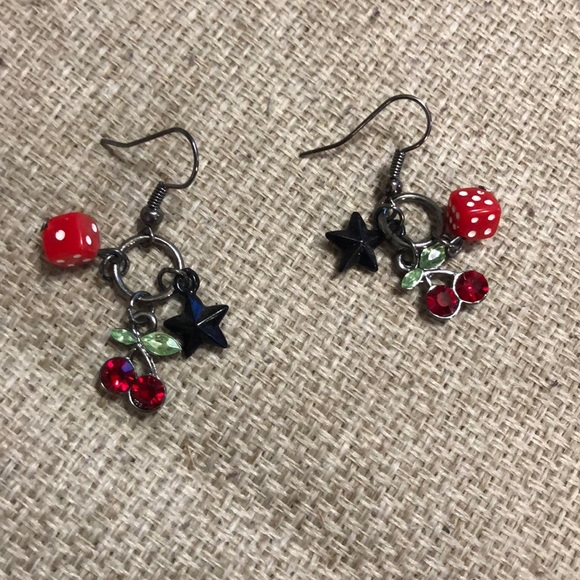 Rockabilly Cherry and Dice Earrings